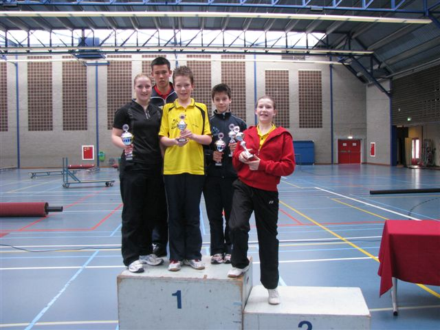 Monique, Stephan, Ruben, Alex en Natalya op de eerste plaats